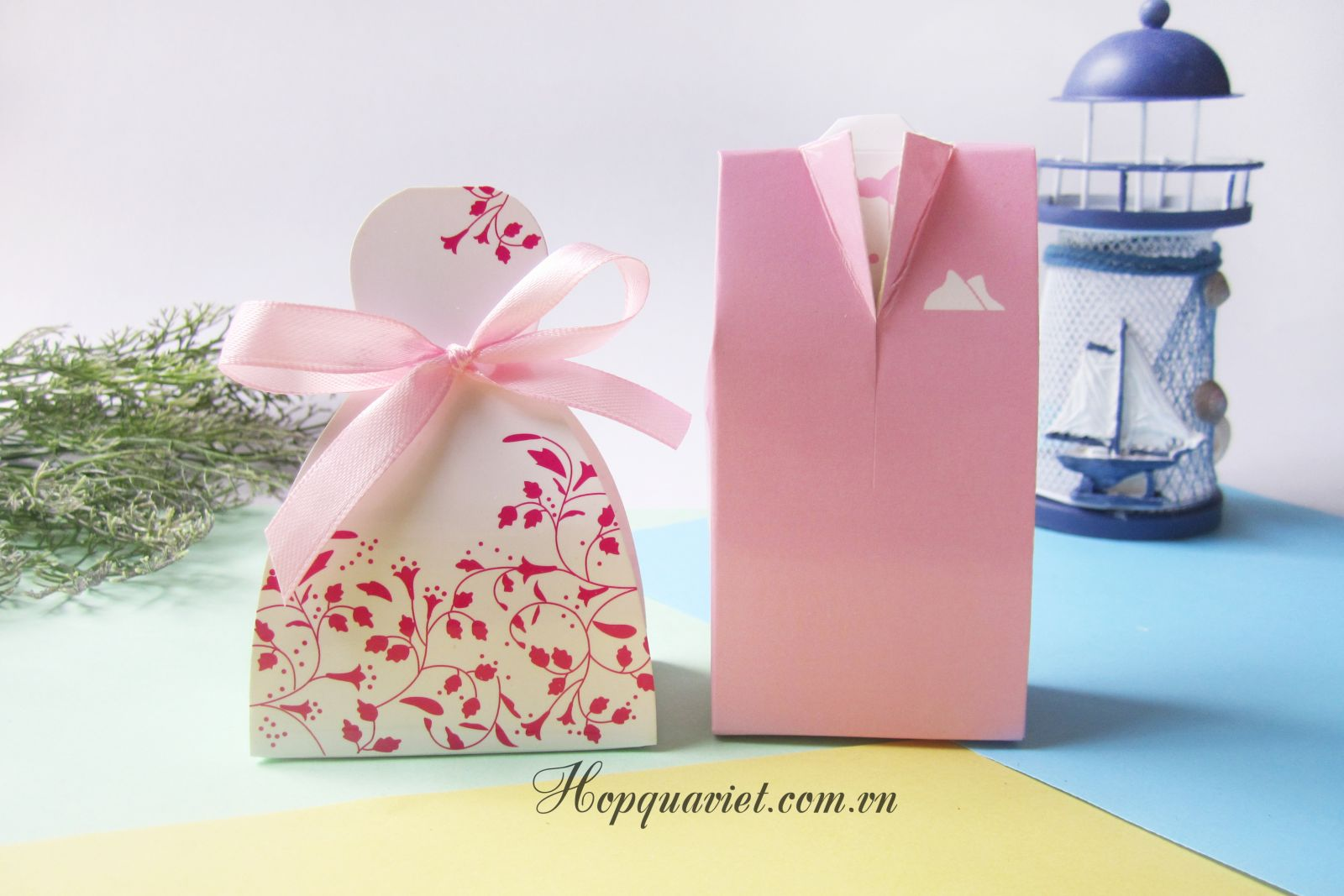 Hộp quà cưới cô dâu-chú rể hồng 4H