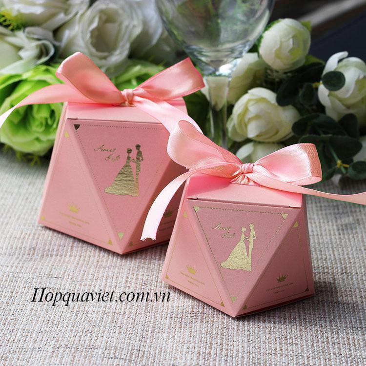 Hộp quà cưới đa giác hồng T2