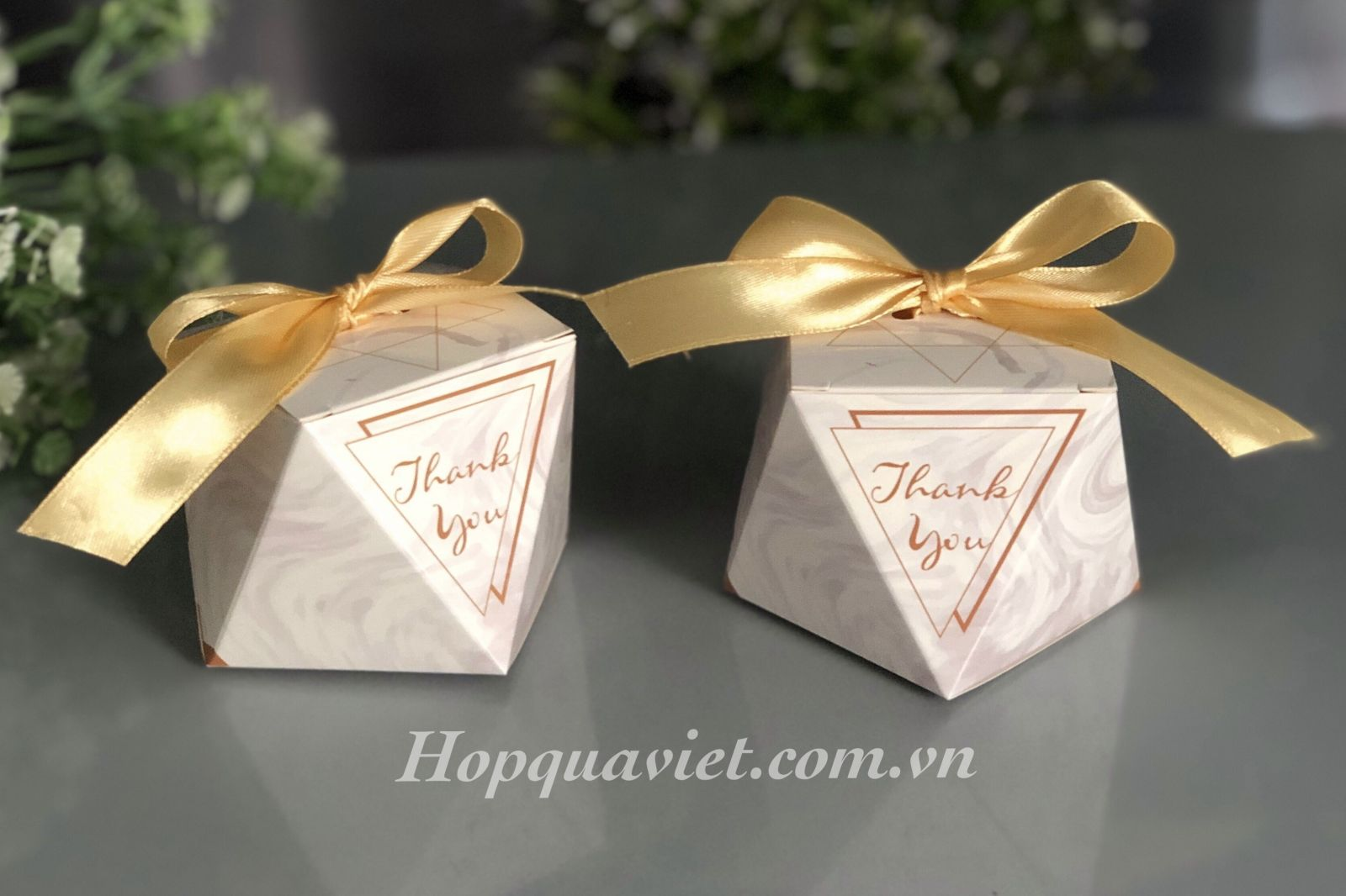 Hộp quà cưới đa giác vân đá T4