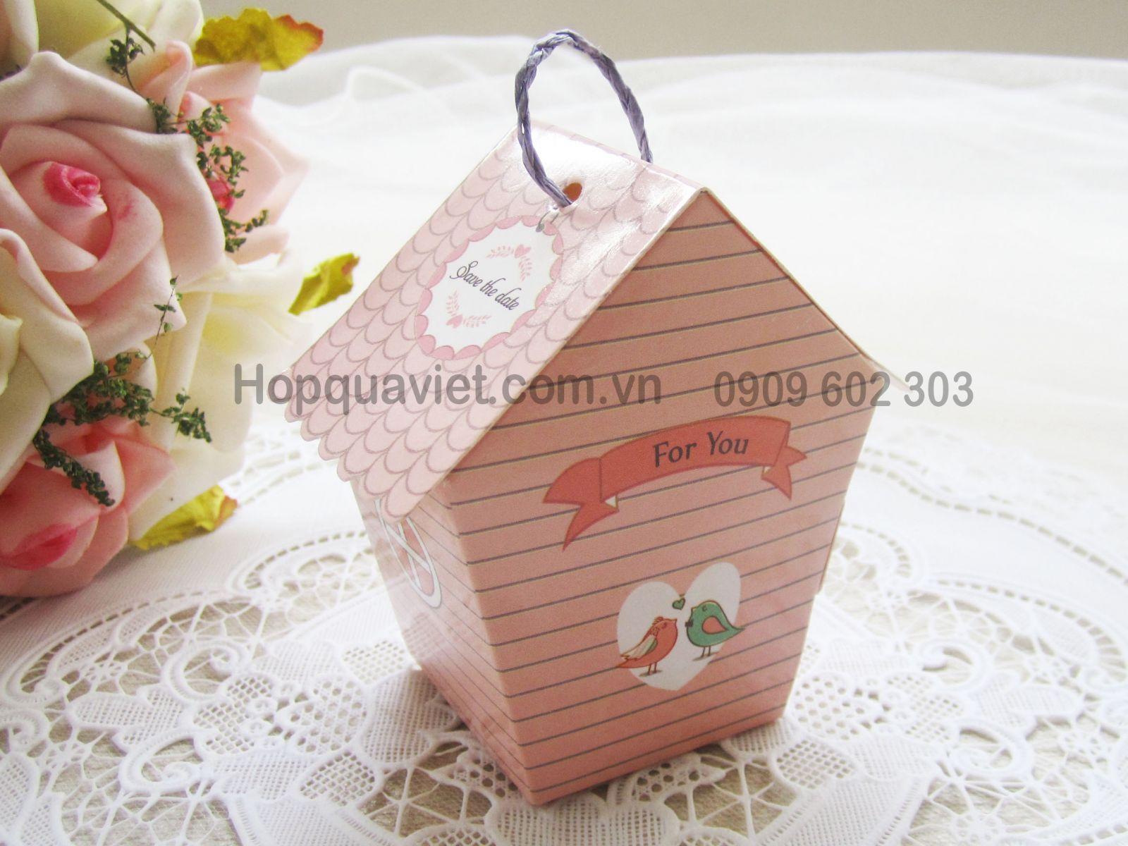 Hộp quà cưới ngôi nhà hồng đỏ 12D