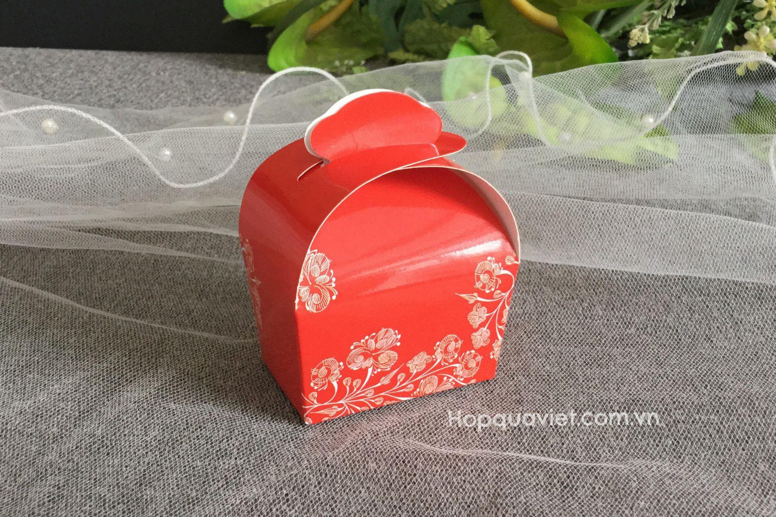 Hộp quà cưới tròn wedding đỏ 14D